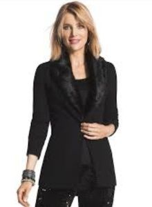 NWOT Chico's Black Blazer with Removable Faux  Fur